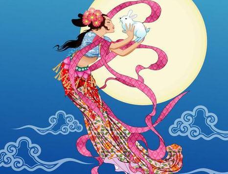 中秋节神话传说 嫦娥奔月 图